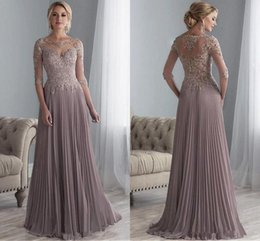 Wholesale Modest Mother Of The Bride Dresses Lace Applique Chiffon Formal Arabic Prom Party Gowns with Sleeves A Line Evening Dress