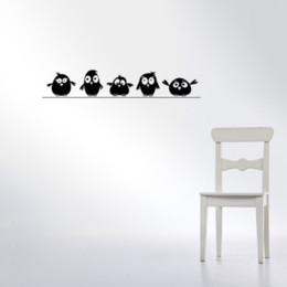 Design Glasses For Kids Australia - Cute 5 Little Birds on the Wire Wall Stickers Door Stickers for Kids Room Living Room Art Decals Cartoon Animal Waterproof Vinyl