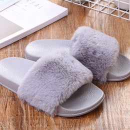 easy flooring 2019 - Women Flip Flops Autumn Spring Flat Shoes Ladies Casual Non-Slip Plush Easy Matching Faux Fur Slippers Indoor Shoes Faba