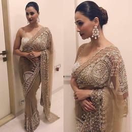 IndIan neck gowns online shopping - Luxury vestido de noiva Saree Evening Dresses Modern Arabic Indian Chiffon Applique Abendkleider One Shoulder Prom Party Gowns