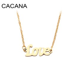 $enCountryForm.capitalKeyWord Australia - CACANA Stainless Steel Necklace For Women Man Love Word Sharp Gold And Silver Color Pendant Necklace Engagement Jewelry