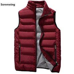 mens green vest jacket NZ - New fashion Men Brand Mens Sleeveless Jacket Cotton-Padded Men's Vest Autumn Winter Casual Coats Male Waistcoat 5XL