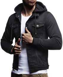 Wholesale knit sleeve hooded denim jacket for sale - Group buy Men s casual hooded Denim Jacket Knitted hooded design Long Sleeve Mens Clothing coat Male Jean Coat Styles