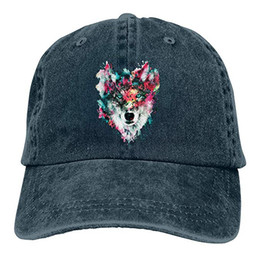 Black wolf hat online shopping - 2019 New Cheap Baseball Caps Print Hat  Watercolor Wolf Mens bf1d943f398