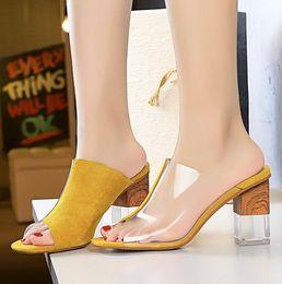 $enCountryForm.capitalKeyWord NZ - size 34 to 40 luxury women designer sandals yellow patchwork transparent clear heel mule 5 colors