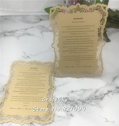 wholesale save date cards Canada - 50pcs lot free shipping New pearlscent paper laser cutting wedding save the date cards and lace invitation cards customized text