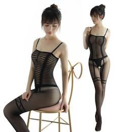 0e38818631a 2019 Womens Sexy Garter Falso Bodystocking Virilha Aberta Impressão Stripe  Body Meias Crotchless Lingerie Bodysuit Calças Justas Pretas