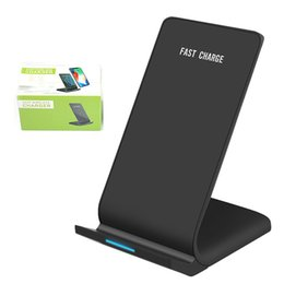 Wholesale QI Wireless Charger Pad With LED Light W Fast charge Phone Holder Stand for iPhone Samsung Huawei Smartphones
