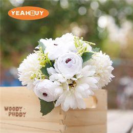 Purple Ivory Bouquets Australia - Bridesmaid Wedding Foam flowers Ivory Rose Bridal bouquet Ribbon Fake Wedding bouquet de noiva