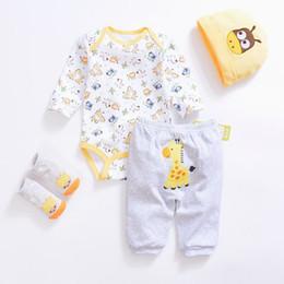 4162b7f640584 2019 Cute Baby Clothing Sets Cotton Baby Boy Clothes Suits Newborn Girl  Suit 4pcs Long Sleeve Infant Rompers+pants+socks+cap J190520