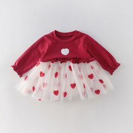love boat clothing Canada - Love Heart Baby Girl Dress 2020 Valentines Day Long Sleeve Red White Bodysuit Princess Dresses Baby Clothes 0-2Y E91012