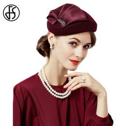 5ba2a3dc0f3a7 FS Elegant Lady 100% Wool Hair Fascinators For Wedding Women Hat Black Wine  Red With Flower Pillbox Hats Felt Fedoras