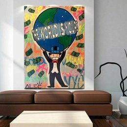 Graffiti Canvas Wall Decor Australia - High Quality Alec Monopoly Handpainted & HD Print Abstract Graffiti Art Oil Painting The World Is Yours On Canvas Wall Art Home Office Decor