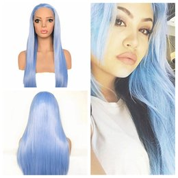 Blue Synthetic Lace Front Wigs Australia - Sexy Blue Lace Front Wigs Natural Looking Long Straight Heat Resistant Synthetic Hair Half Hand Tied Wigs Free Part for Fashion Women