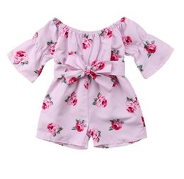 three quarters trousers 2019 - Summer new Infant onesies clothes 2019 Baby Girls Outfit Off-Shoulder Rose Floral Print Overall Romper Jumpsuit Trousers