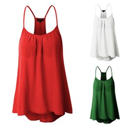 $enCountryForm.capitalKeyWord Australia - Womens Sexy Sleeveless summer tshirt Halterneck Chiffon Tank Crop Tops in Green Red White High Quality New Fashion 2018