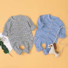 half rompers Canada - Baby Girls Rompers Long Sleeve Knitting Pattern Boys Overalls For Newborns Jumpsuits One Piece Autumn Toddler Infant Clothes 0-2MX190912