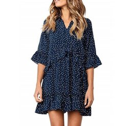 T Shirt Ruffle Dress Australia - Europe and the United States new V-neck ruffled stitching sleeve printed wave point loose T-shirt dress