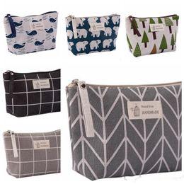 $enCountryForm.capitalKeyWord Australia - Cosmetic Bags Cotton Linen Makeup Bag Travel Phone Pouch Women Coin Clutch Sundries Storage Bags Korea Trend Plaid Animal 8 Designs