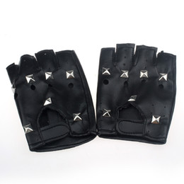 Fingerless motorcycle gloves online shopping - 1Pair Synthetic Leather Black Driving Motorcycle Bicycle Fingerless Gloves Men Women Gloves Fashion Sale Half Finger