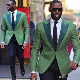 Slim Fit Green Suit Australia - 2019 Green Business Men Suits 2 Pieces(Jacket+Pant) High Quality Slim Fit Blazer Formal Prom Suits Clothes Fashion