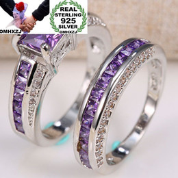 $enCountryForm.capitalKeyWord Australia - OMHXZJ Wholesale European Fashion Woman Man Party Wedding Gift Square Amethyst 925 Sterling Silver Ring Set RR76