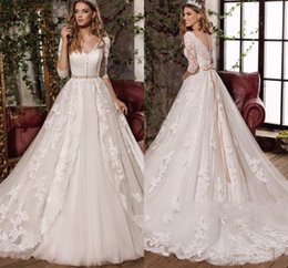 Discount half pearl bead buttons - Sexy V Neck Beaded Lace Sheer Wedding Dresses 2019 Gorgeous Appliques Half Sleeves Bridal Gowns with Sash