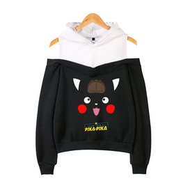 $enCountryForm.capitalKeyWord Australia - Pikachu New Clothes 2019 K-pops Printing Women summer Fashion Hooded Off-Shoulder Hoodies Sweatshirt Women Clothes plus size