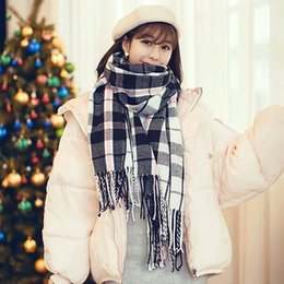 Colour Cotton Scarf Australia - Coloured Scarf Female Autumn Winter Korean Edition Baitao Student Cotton Knitted Wool Skin Long Soft Sister Scarf Female