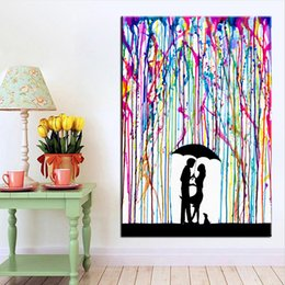 $enCountryForm.capitalKeyWord Australia - 1 Panel Graffiti Canvas Painting colorful Rain under umbrella the lover kiss art canvas prints picture painting No Frame