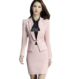 Wholesale womens business suits resale online - Fmasuth Business Skirt Suit Ladies Autumn Winter Blazer Jacket Skirt Pieces Womens Suits Blazer with