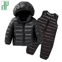 Children Winter Tutus UK - Kids winter clothes Sets Down Jacket 2 pcs Hooded Coat+overalls Baby Boys Girls Warm Parkas Children Outerwear toddler