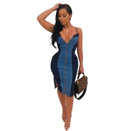 10f6f6c52a5e Spaghetti Strap Sexy Denim Dresses Women Deep V Neck Sleeveless Bandage  Midi Dress Summer Front Zipper Side Split Backless Dress NB-1365