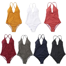 7025c20b72ebd Women One Piece Bikini Plunging V-Neck Backless Hollow Out Cross Bandage  Back Swimsuit Solid Color Thread Stripes Swimsuit