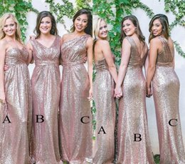 $enCountryForm.capitalKeyWord Australia - Cheap Rose Gold Long Bridesmaid Dress 2019 Sequins Summer Country Garden Formal Wedding Party Guest Maid of Honor Gown Plus Size Custom Made