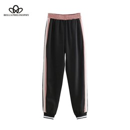 $enCountryForm.capitalKeyWord Australia - Bella Philosophy Women Stripe Pants Pockets Elastic Waist Style Ladies Capri Casual Chic Female Trousers Pantalones Y19071801