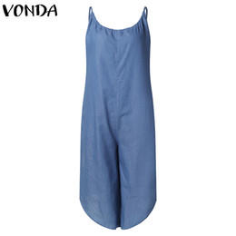 $enCountryForm.capitalKeyWord Australia - VONDA Rompers Womens Jumpsuit 2019 Summer Overalls Sexy Wide Leg Pants Casual Loose V Neck Sleeveless Playsuit Plus Size Overall T5190606