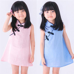 Wholesale chinese clothes cheongsam for sale - Group buy 3 colors kids designer clothes girls Summer Princess Dresses Kids Sleeveless Cheongsam Chinese Style clothes Fashion girls dresses DHL JY12