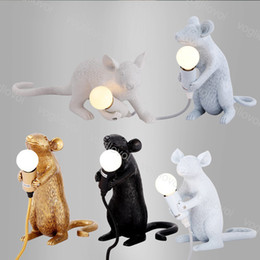 Discount small desk lights Table Lamps Resin Animal Rat Mouse Table Lamp Small Mini Mouse Cute LED Night Lights Home Decor Desk Lights Bedside Lamp