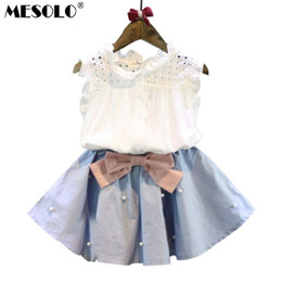 Discount korean style girls top - 2-8 Years Kids Clothes for Girls The Bow Skirt and Lace Top Summer Suit Korean Style Children's Clothing Sets Baby