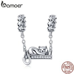 8a3fe70e7 Cat Jewelry Sets Australia - BAMOER 925 Sterling Silver Adorable Cat Star  Charms Star Pave Charm