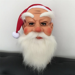 Pattern Decor Australia - Santa Claus Face Mask Masquerade Costume Cosplay Masks Fancy Full Adult Halloween Face Full Head Face Adult Headgears Christmas Decor