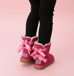 FREE SHIPPING kids Bailey 2 Bows Boots Genuine Leather toddlers Snow Boots Solid Botas De nieve Winter Girls Footwear Toddler Girls Boots 02 on Sale