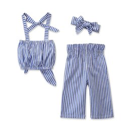 Organic Style Flowers UK - Girl sets 2 pieces suits Girl fashion halter vertical stripes top + pants sets kids clothes