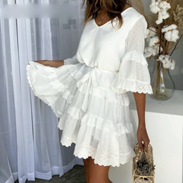 ladies white linen dress Australia - Elegant V Neck Ruffle Layered Women Summer Dress Casaul Loose High Waist White Dress Embroidery Short Dresses Ladies