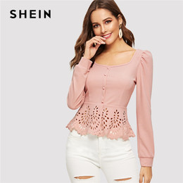 $enCountryForm.capitalKeyWord NZ - Pink Button up Hollow out Square Collar Peplum Hem Puff Sleeve Blouse Women Tops and Blouses Spring Elegant Slim Fit Top