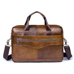 man bag types 2019 - Factory direct Genuine Leather men's bag casual business cross section type coffee briefcase men's shoulder me