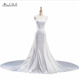 $enCountryForm.capitalKeyWord UK - wholesale Satin White Wedding Dress With Long Train Vestido De Noivas Pleat Cheap Mermaid Wedding Dress Vestido Boda Mujer