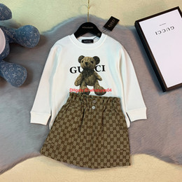 Wholesale cowboy clothes set for sale – designer newChildren long sleeve t shirt sets kids designer clothing long sleeve t shirt skirt or trousers wash cowboy hook flower autumn sets