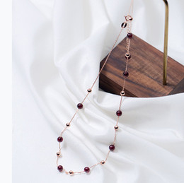 Wholesale latest red beads for sale - Group buy fancy necklace design sterling silver red garnet beads delicate fine chain choker latest beads handmade statement necklace